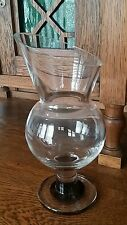 "Carafe Pitcher Crystal Red Dot in Base 10"" Angle Top No Handle, Scandinavian?"