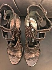 TOM FORD WOMENS CUTOUT PYTHON AND LEATHER 105MM SANDAL size 37 1/2