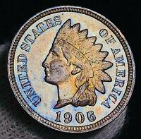 1906 Indian Head Cent Penny 1C GEM High Grade LIBERTY 4 DIAMONDS US Coin CC6475