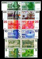 2x 5, 5, 10, 25, 100, 1000 Gulden - Ausgabe 1966 - 1973 - Reproduktion - 03