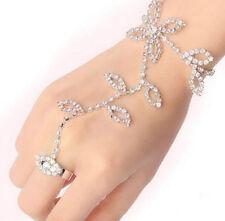 Slave Bracelet Finger Ring Foot Hand Harness Leaf Chain Link Crystal Rhinestone