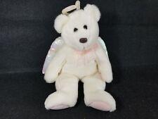 "WHITE ANGEL BEAR TY HALO 15"" PINK STUFFED ANIMAL BEAR TYLUX PLUSH LOVEY BABY"