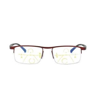 Progressive Reading Glasses Multi Focus Eyeglasses Red Black Half Rim Men Reader