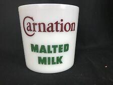 "Vintage 1940's Soda Fountain Carnation Malted Milk Milk Glass Canister 6.5"""