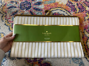 """Kate Spade Table Runner Harbour Drive Gold Striped 15"""" x 90"""" Holiday Wedding"""