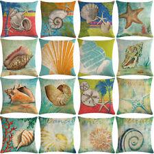 "18"" Conch, starfish Pattern Cotton Linen Cushion Cover Pillow case Home Decor"