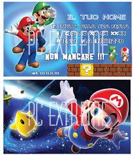 Biglietti - Inviti Compleanno personalizzati MARIO BROS 30 Pz