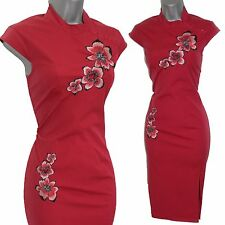 Karen Millen Red Cotton Embroidered Chinese Oriental Style Wiggle Dress UK 10
