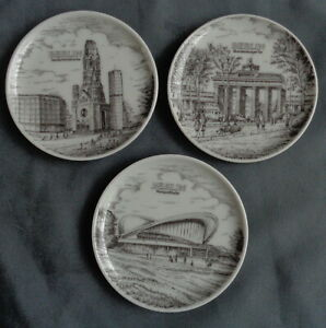 EVERSBERG 3x bord wandbord 10cm BERLIN mini wall plate Teller Assiette plato 70s