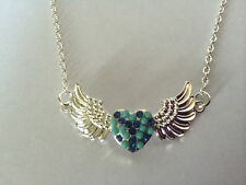 """LOVELY ANGEL WINGS WITH BLUE HEART SILVER PLATED CHAIN NECKLACE  APPROX 19"""""""