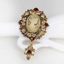 Vintage Cameo Brooch Pins Brooches for Women Rhinestones Broch Flower Brooch 1PC