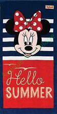 Serviette de plage Minnie Hello Summer, drap de bain pas cher, Disney neuf