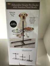 Stainless Steel Adjustable Height Pet Dog Elevated Double Bowl Feeder Dish New