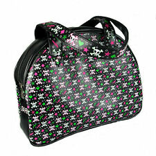 RETRO PINK GREEN WHITE SKULL HEART STAR BOWLING 50'S BAG CLUTCH LADIES HANDBAG