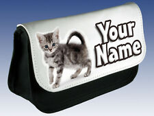 TORTOISESHELL KITTEN CAT PERSONALISED PENCIL CASE / DS HOLDER / MAKE UP BAG