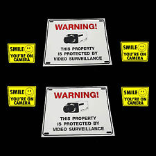 LOT OF OUTDOOR SURVEILLANCE SECURITY VIDEO CAMERAS WARNING YARD SIGNS+STICKERS