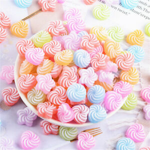 20pc Assorted Resin Faux Sweety Button Swirl Candy Flatback Scrapbook Decor 16mm