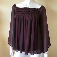 Bailey 44 Burgundy Maroon Chiffon Blouse Lined Sz XS Off the Shoulder Career Top