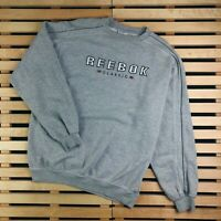 Mens Sweatshirt Reebok Vintage Grey Size L Big Logo