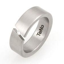 TeNo YuNis Ring 19/60 Brillantring Edelstahlring Spannring mit Brillant 0,04ct