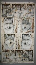 """Wolf Call of the Wild FLANNEL Panel Quilt Fabric 24"""" x 44"""""""