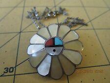 Zuni Old Multi-Stone Inlay Sun-Face Sterling Silver Pin Pendant