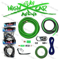 Sky High Car Audio Green 1/0 AWG OFC to Dual 4 Gauge OFC Complete Amp Kit Split