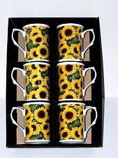 GIRASOLE Chintz Design Bone China Tazze-Set di 6 regalo in scatola. sole giallo brillante