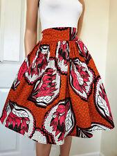 'KAREN' African Printed Knee Length / Midi Skirt 100% Wax Cotton Handmade UK
