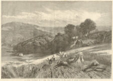 """""""A Surrey corn field"""" by V. Cole 1861 antique ILN full page print"""