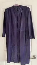Vintage Giorgio Armani Leather Coat Purple Sz 40 Italy