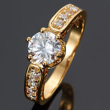 Women Jewelry Clear White Topaz Stone Gold Plated Engagement Ring Size 7 O
