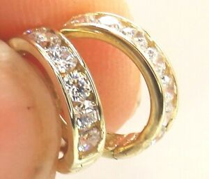 9CT YELLOW GOLD DIAMOND CUFF HUGGIE HOOP EARRINGS 9 CARAT GOLD SMALL