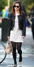 ZARA BLACK SILVER TWEED JACKET BLAZER METALLIC CHAIN DETAIL PIPPA XS