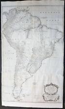 1755 Kitchin & Boulton Large Original Antique Map of South America