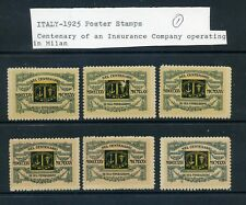 6 VINTAGE 1925 MILAN INSURANCE CENTENARY POSTER STAMPS (L852) ITALY