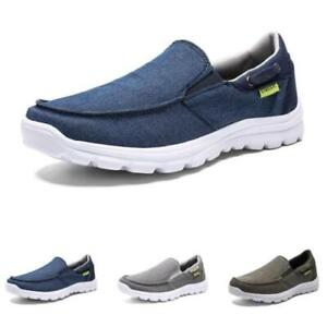Mens Canvas Slip on Loafers Shoes Flats Driving Moccasins Walking Sports 39-48 D