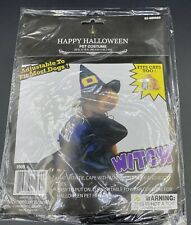 Happy Halloween WITCH PET COSTUME fits CATS TOO HAT & CAPE w/Adjustable Ties