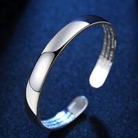 Charm Women 925 Sterling Silver Wristband Cuff Bracelet Toggle Open Bangle Gifts