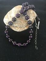 Native American Navajo Pearls Purple Sugilite Bead Sterling Silver Necklace c