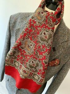 VINTAGE mens 70's INDIE/MOD RED PSYCHEDELIC MULTI COLOUR ORNATE PATTERN SCARF