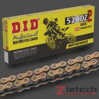 DID Motorrad Kette Offen + Clipschloss Standard 520 DZ2 112 Glieder Gold-Schwarz