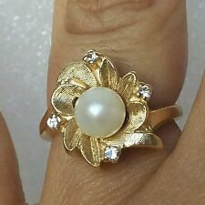.07 C 14k Yellow Gold Round natural Genuine Diamonds pearl flower Ring S 4