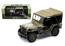 WELLY 1:18 WWII U.S. ARMY 1/4 TON TRUCK WITH TOP UP Diecast Car 18036W-H
