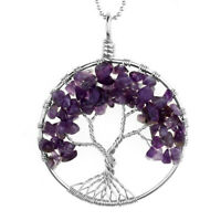 Natural Amethyst Tree Of Life Gems Chip Bead Wire Wrap Pendant fit Necklace Gift