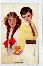 "(Gt125-428) Artist Signed, ""For You"" ""Premier Flirt"" c1920 Unused VG"