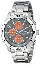 NEW Seiko SKS415 Mens Classy Round Stainless Steel Watch W Orange Sub Dials 100M