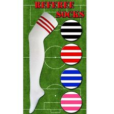 Ladies Striped Referee Over the Knee Socks UK 4 - 7 Black, Red or Blue Stripes