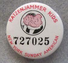 1930's KATZENJAMMER KIDS N.Y. Sunday American comic pinback button w/ back paper