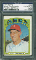 Reds Sparky Anderson Authentic Signed Card 1972 Topps #358 PSA/DNA Slabbed
